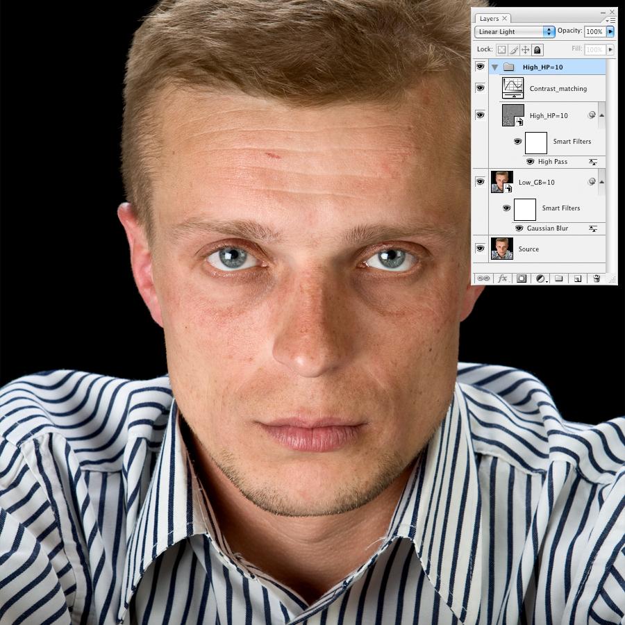 Ретушь портрета на основе частотного разложения изображения