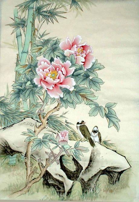 Совр. Китайский Художник, Пеоны и Птицы