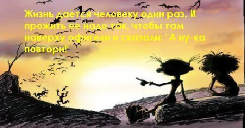 Жизнь дается человеку один раз. И прожить ее надо так, чтобы там наверху офигели и сказали: «А ну-ка, повтори!»