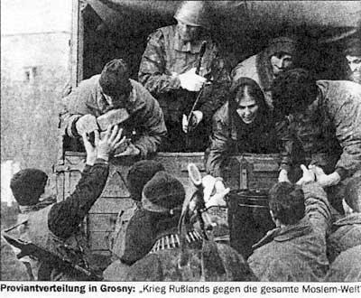 Подпись под картинкой: «Распределение провианта в Грозном: Война России против всего исламского мира»