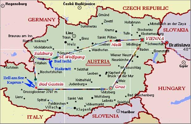 Схематическая карта 3-недельной поездки по Австрии