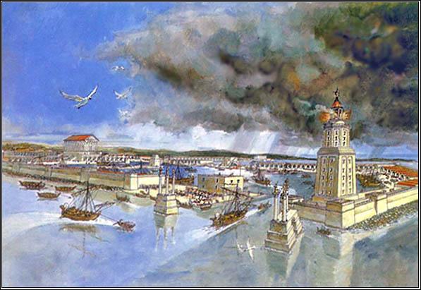 Кесария – вход в порт. Реконструкция. (Иллюстрация из Caesarea Maritima)