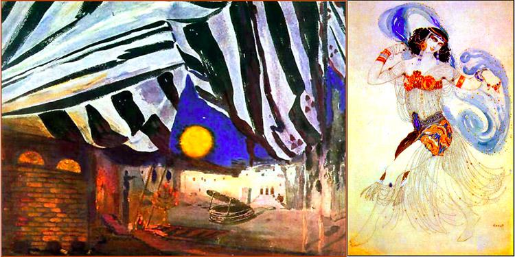 """Эскиз декорации (Эшмоловский музей искусства. Оксфорд) и костюма к балету """"Саломея"""""""