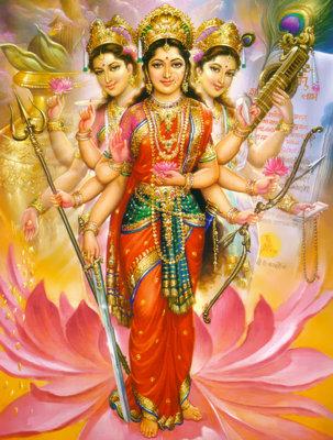 триединая богиня в индуизме изображена более четко чем троица в христианском исскустве.
