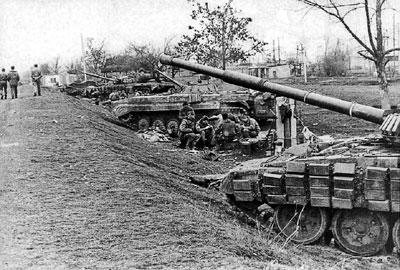 Боевые позиции 324 мсп у племенного хозяйства в момент блокирования дороги на Грозный. Февраль 1995 г.