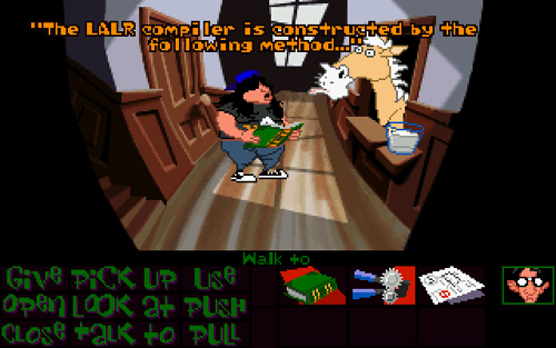 Day of the Tentacle (1993). Using textbook with horse.