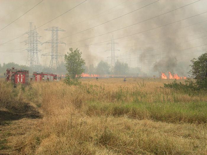 Пожар на пустыре в Новокосино