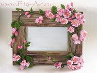 подарок на 8 марта - фоторамка с цветочным декором, цветы яблони из полимерной глины, авторская керамическая флористика