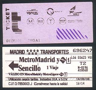 Билеты на метро: парижское и мадридское