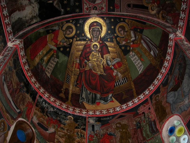 Госпожа ангелов, фреска, 17-й век, монастырь Петрас Катафигиу, Фессалия, Греция