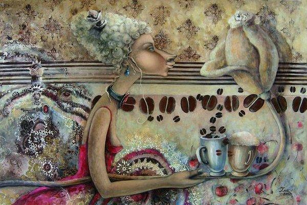 живопись женщина кофе