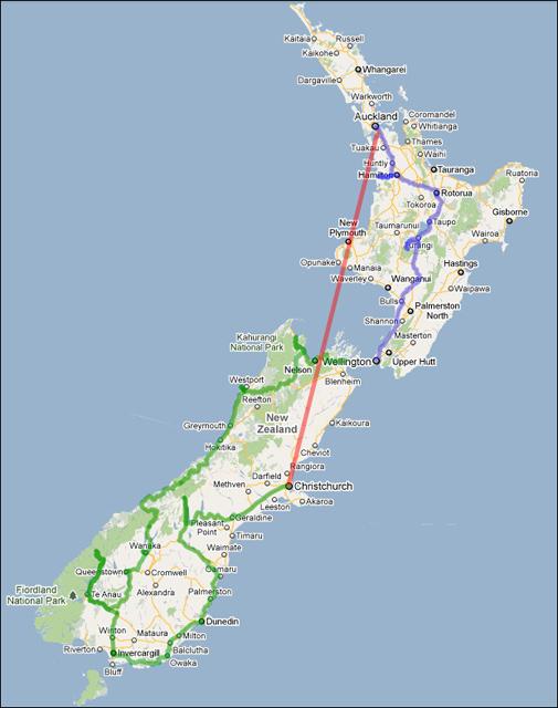 Маршрут по Новой Зеландии