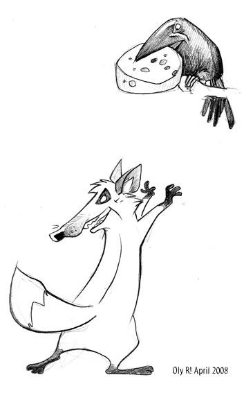 картинка сказки лиса и ворона черно белая ночь