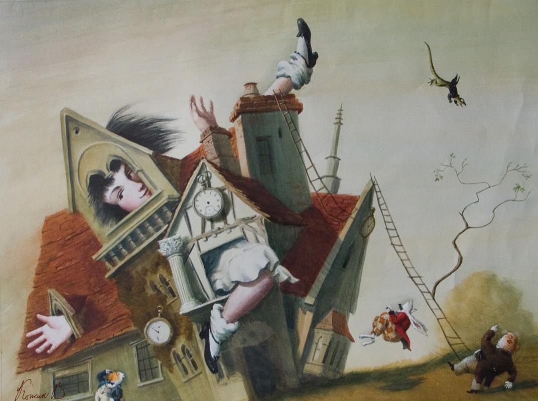 Здесь Если кому интересно увидеть мои работы по произведению Л Кэрролла Алиса в Стране чудес то три из этой серии будут представлены на выставке Пространство