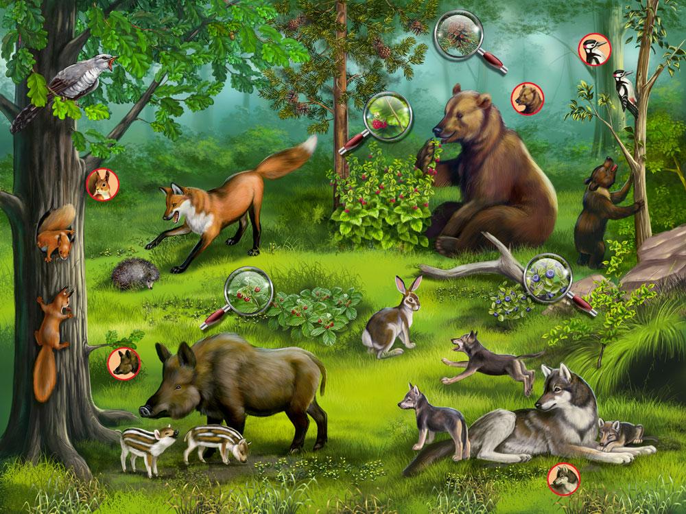 рисунок дикие животные в лесу
