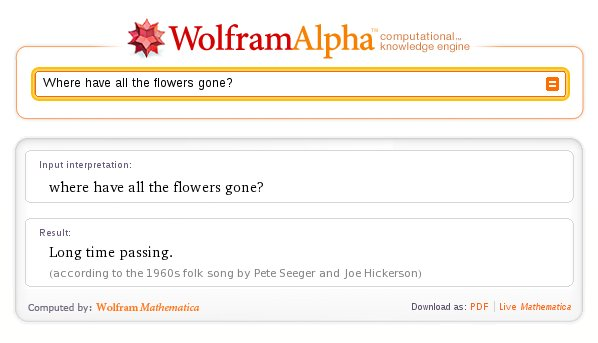 http://www.wolframalpha.com/input/?i=Where+have+all+the+flowers+gone%3F