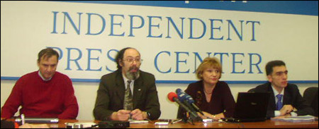 Андрей Бузин, Аркадий Любарев, Лилия Шибанова, Александр Кынев. Фото Веры Васильевой, HRO.org